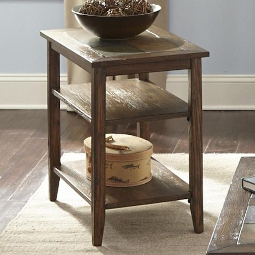 Liberty Furniture Brookstone Transitional Chairside Table with Two Shelves