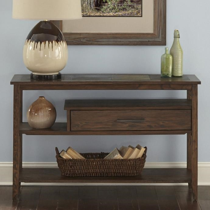 Delightful Liberty Furniture Brookstone Transitional Sofa Table With Drawer