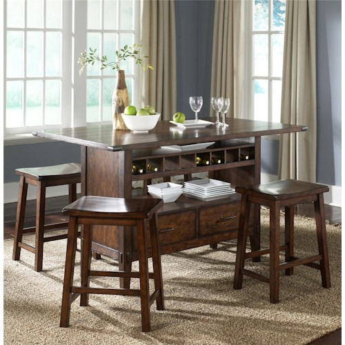 Liberty Furniture Campside Center Island Pub Table with 4 Sawhorse Barstools