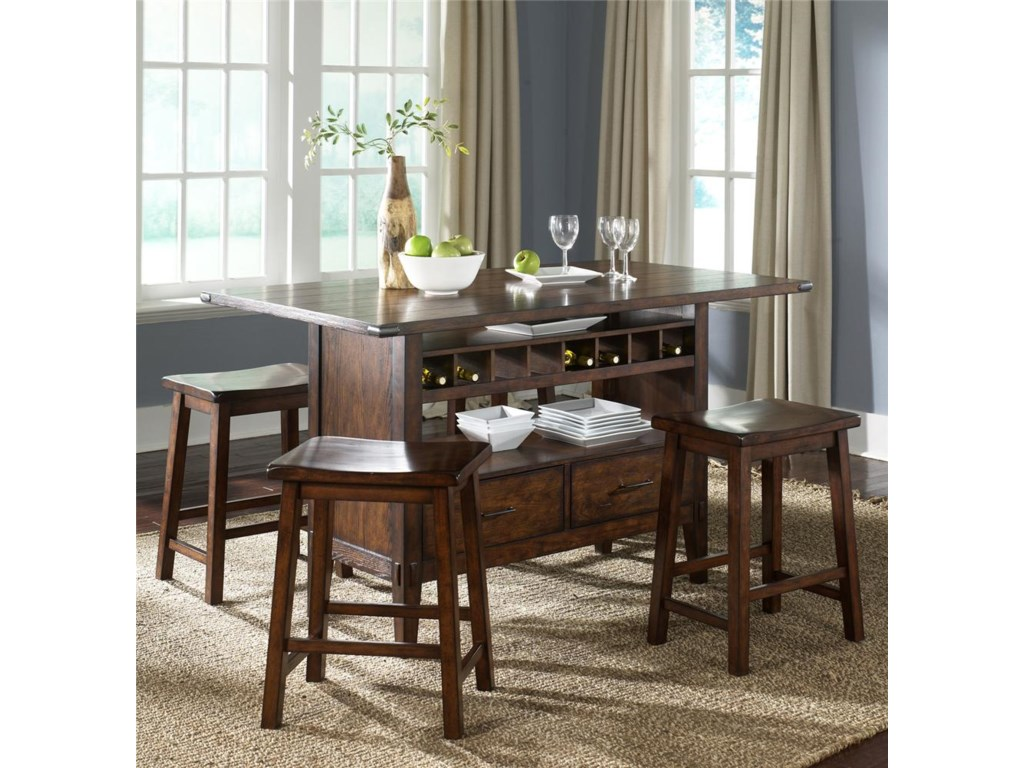 Liberty Furniture Cabin FeverCenter Island Table with 4 Stools