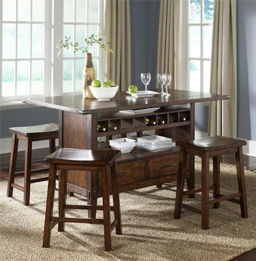 Liberty Furniture Cabin Fever Center Island Pub Table with 4 Sawhorse Barstools