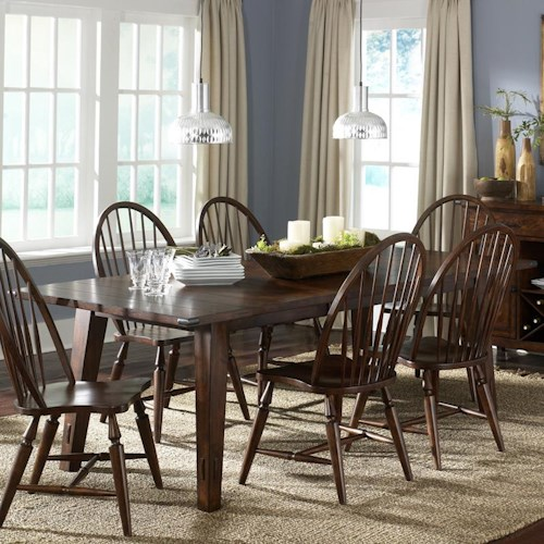 Liberty Furniture Cabin Fever Rectangular Leg Table with 18 Inch Leaf