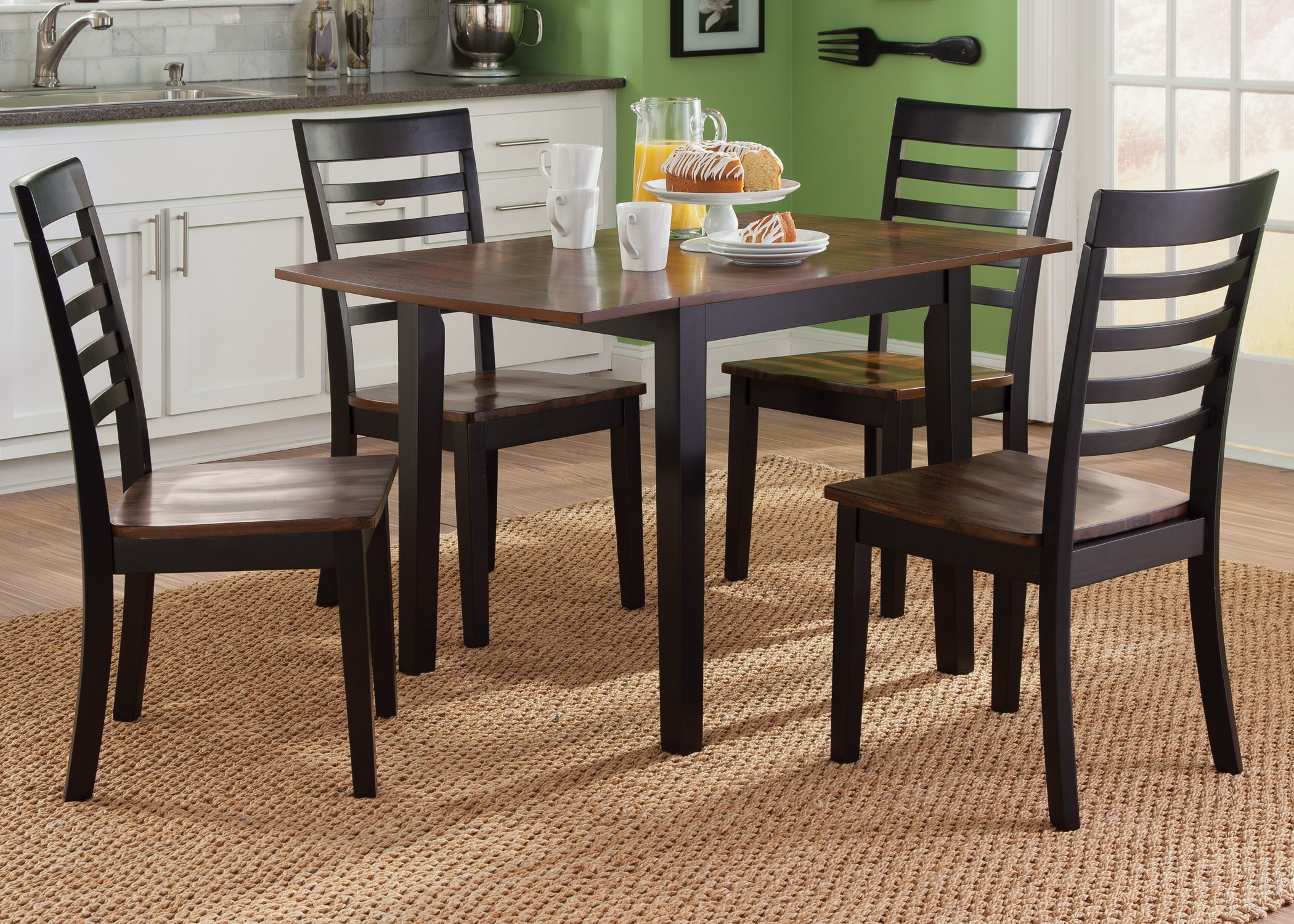 liberty furniture cafe dining 5 piece drop leaf table and slat back chair set