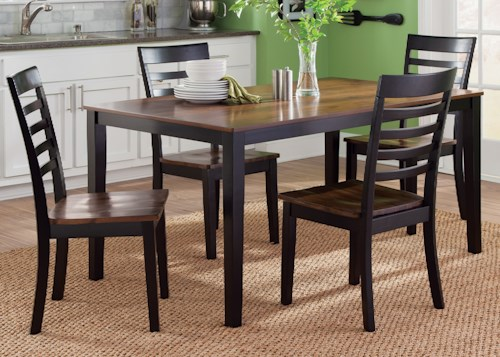 Liberty Furniture Cafe Dining 5 Piece Rectangular Table and Slat Back Chair Set