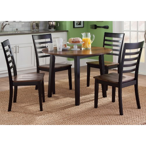 Liberty Furniture Cafe Dining 5 Piece Round Table and Slat/Ladder Back Chair Set