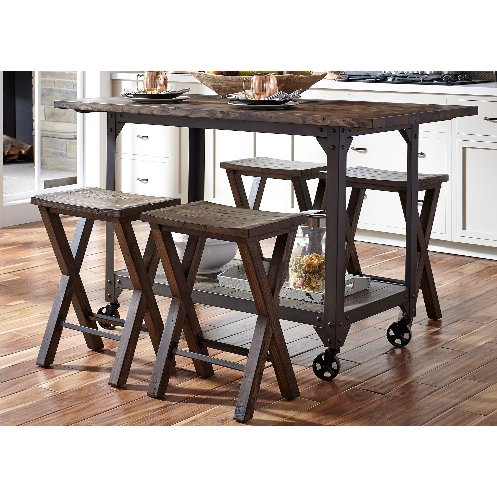 Liberty Furniture Caldwell Industrial Kitchen Island And Counter Height  Stool Set