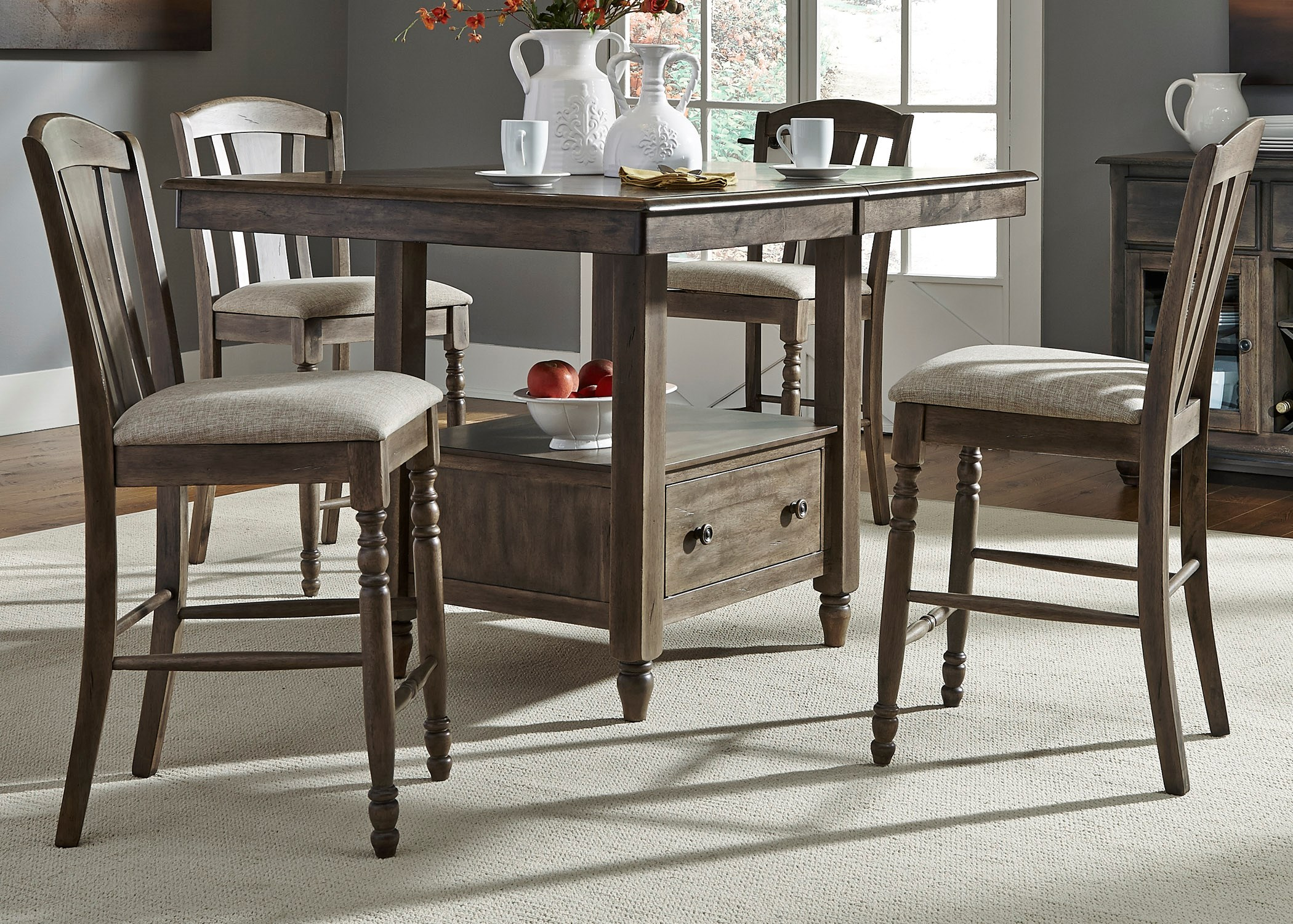 Candlewood 5 Piece Gathering Storage Table and Barstool Set by Liberty Furniture & Liberty Furniture Candlewood 163-CD-5GTS 5 Piece Gathering Storage ...