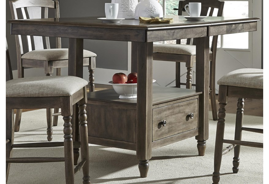 Candlewood Center Island Gathering Table with Built In Storage by Liberty  Furniture at Furniture and ApplianceMart