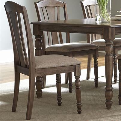 Liberty Furniture Candlewood Casual Slat Back Side Chair with Arched Cap Rails