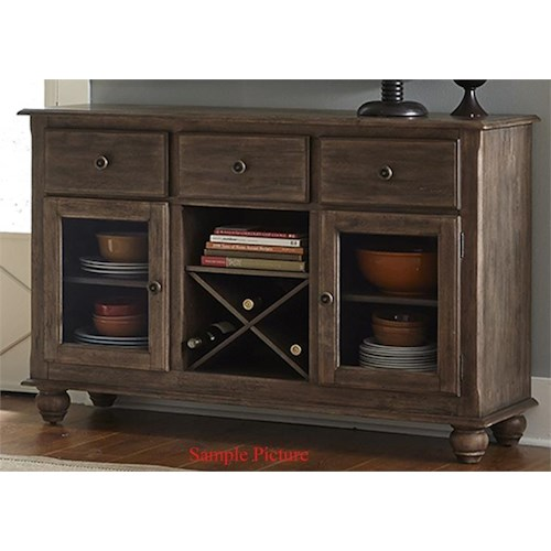 Liberty Furniture Candlewood Causal Server with Glass Doors and Removable Wine Storage