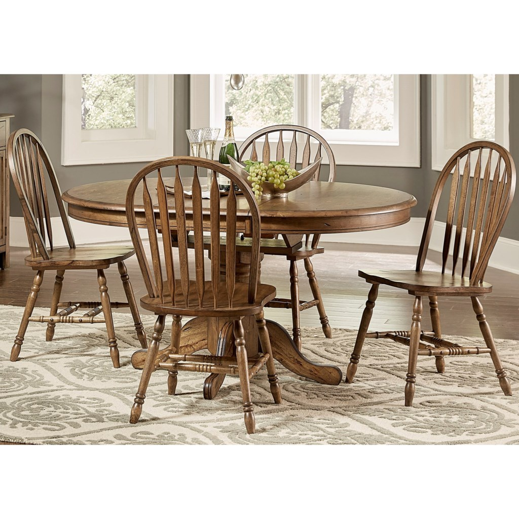 Carolina crossing transitional pedestal table and chair set with table leaf by liberty furniture