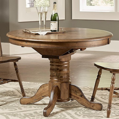 Liberty Furniture Carolina Crossing Transitional Oval Pedestal Dining Table With Leaf