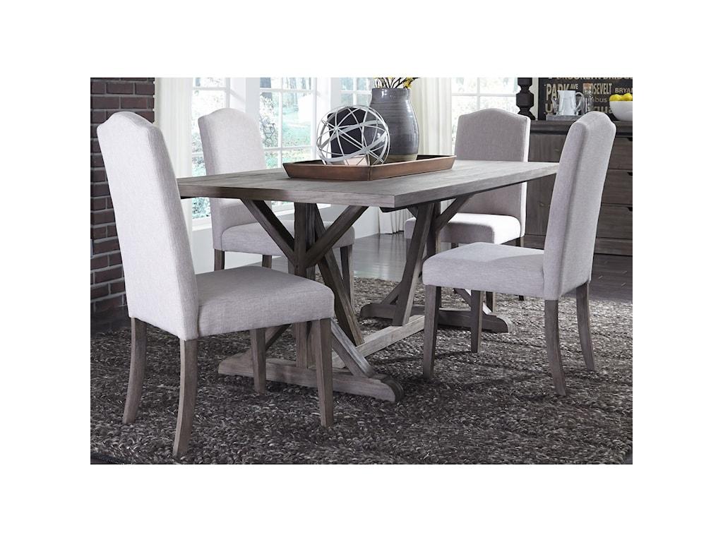 Liberty Furniture Carolina Lakes5 Piece Trestle Table Set
