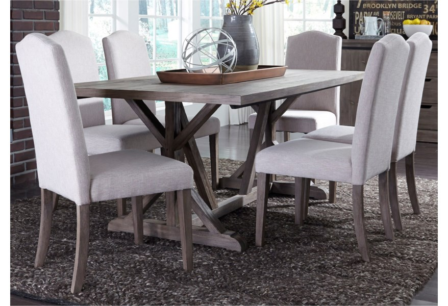 Liberty Furniture Carolina Lakes 140 Cd 7trs 7 Piece Trestle Table Set With Tan Parson S Chairs Northeast Factory Direct Dining 7 Or More Piece Sets