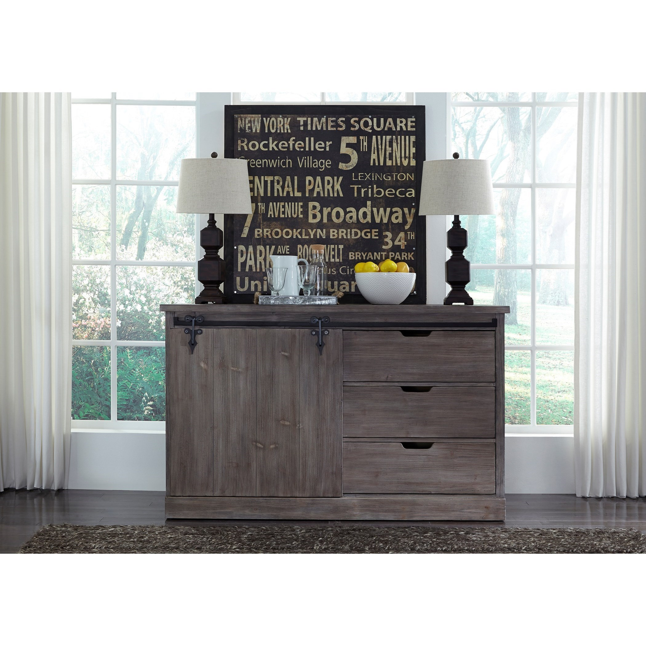 Server w/ Wired Brushed Weathered Gray Finish