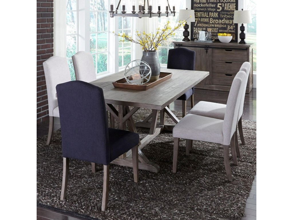 Liberty Furniture Carolina Lakes7 Piece Trestle Table Set