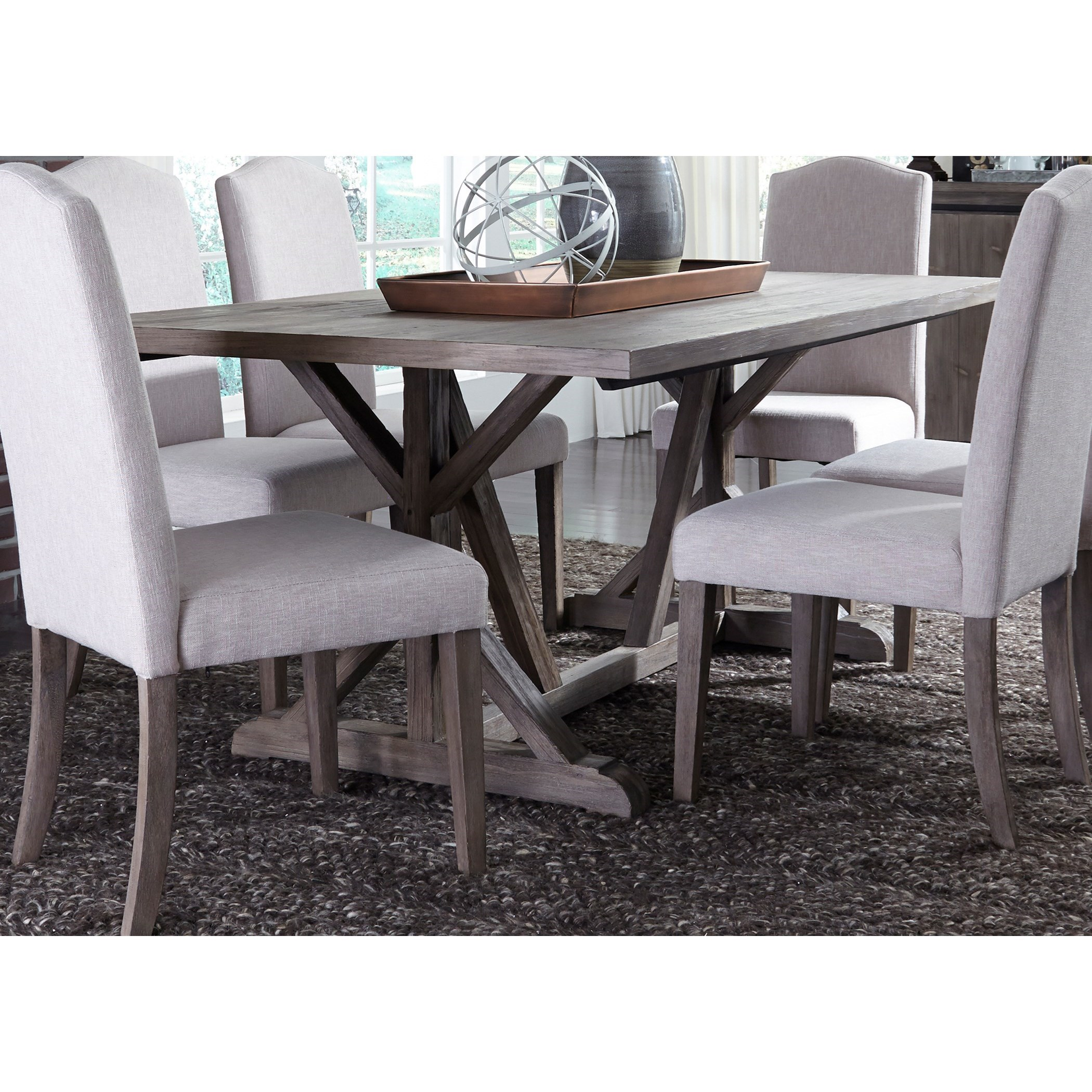 Trestle Table with Weathered Gray Finish