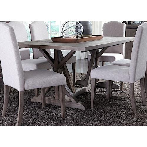 Liberty Furniture Carolina Lakes Trestle Table with Weathered Gray Finish
