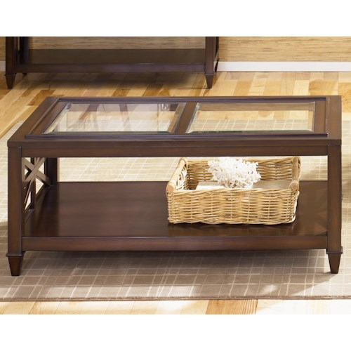 Liberty Furniture Caroline Rectangular Cocktail Table with Glass Top