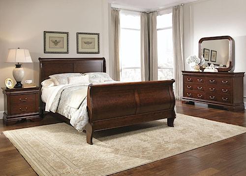 Liberty Furniture Carriage Court Queen Sleigh Bed, Dresser & Mirror, Chest