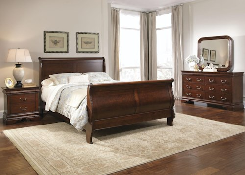 Liberty Furniture Carriage Court Queen Sleigh Bed, Dresser, Mirror, Chest, N/S