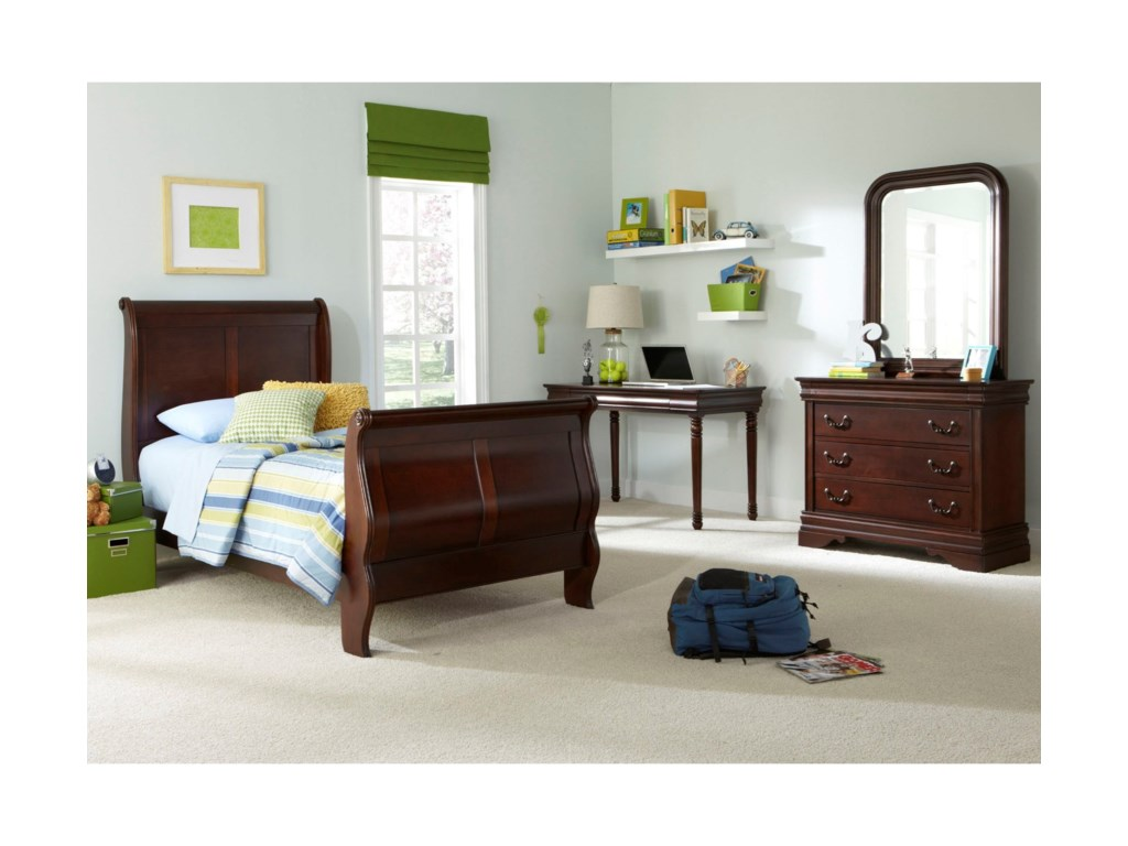 Liberty Furniture Carriage CourtTwin Sleigh Bed, Dresser & Mirror