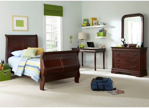 Liberty Furniture Carriage Court Twin Sleigh Bed, Dresser & Mirror