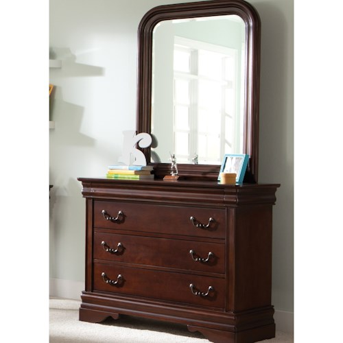 Liberty Furniture Carriage Court 3 Drawer Youth Dresser and Beveled Edge Mirror