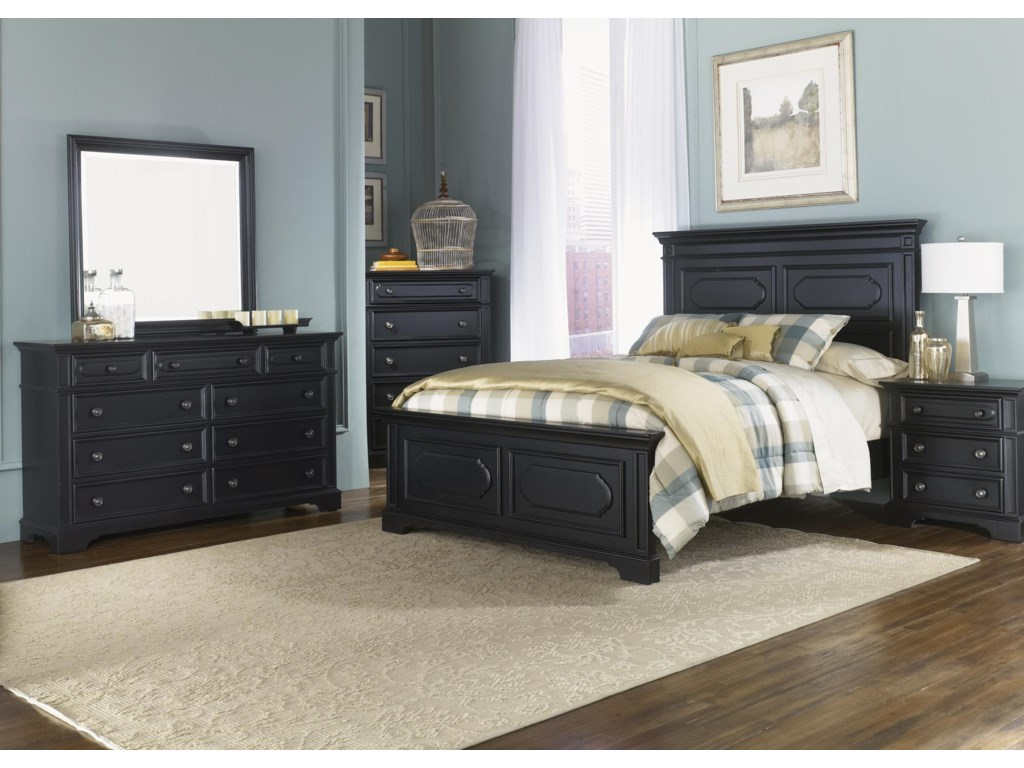 Shown as Complete Bed with Dresser, Mirror, Chest and Nightstand