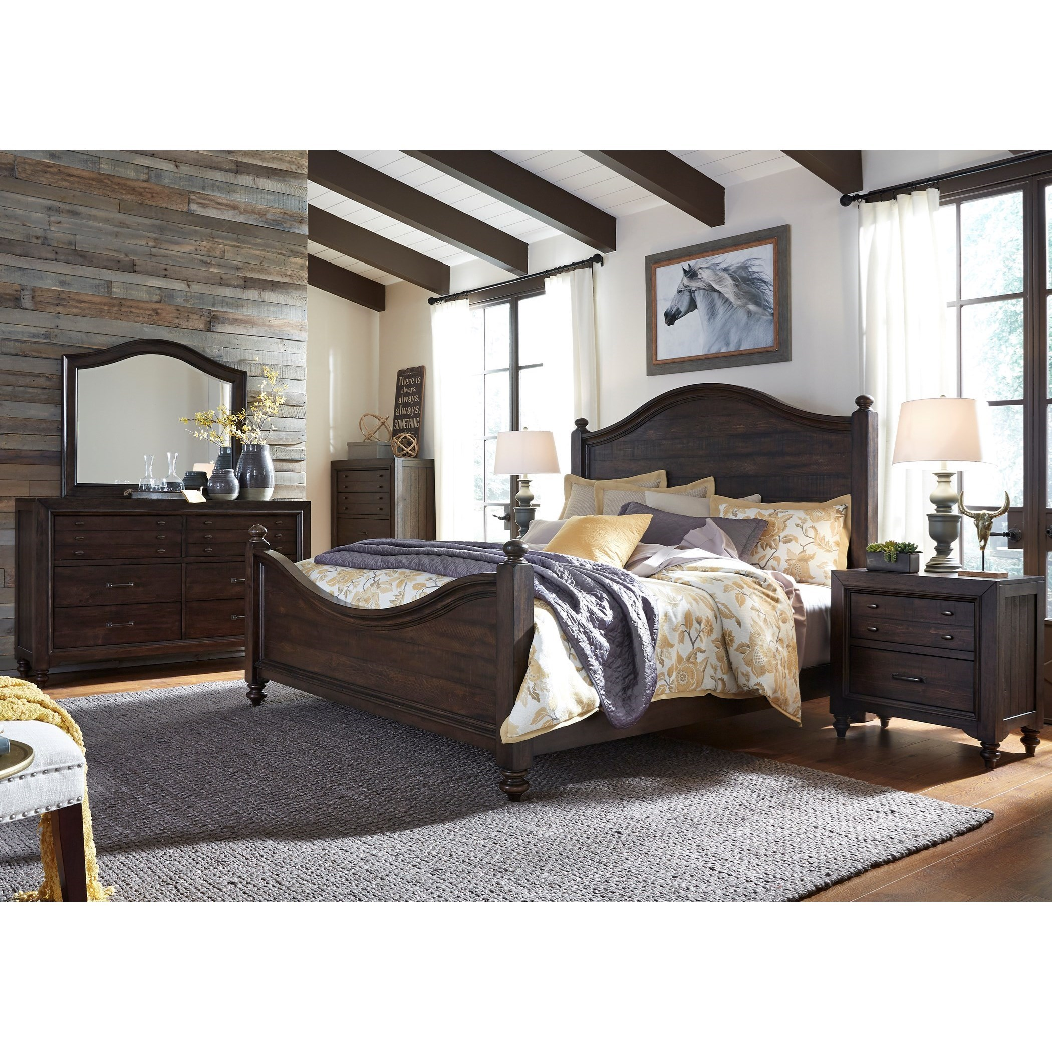 King Poster Bed Bedroom Group with Nightstand