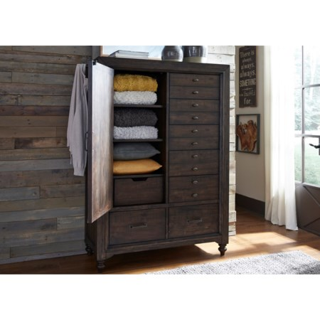 Door Chest with 7 Dovetail Drawers