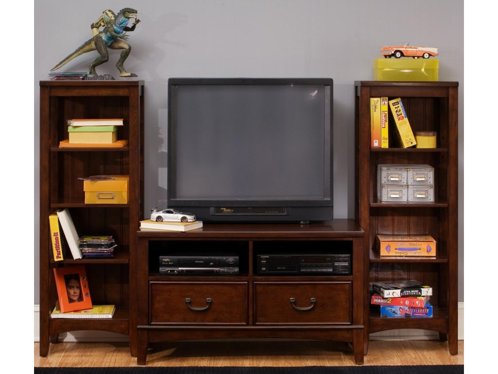 Two Bookcases Shown with Media Chest as Wall Unit