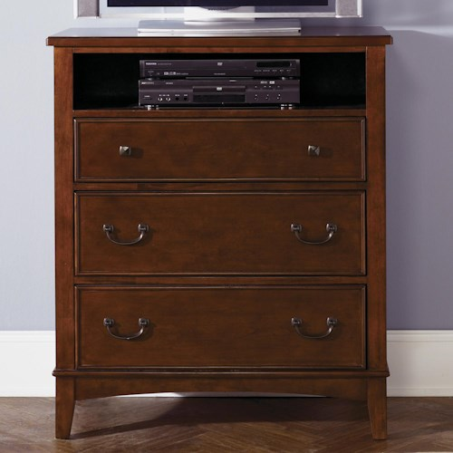 Liberty Furniture Chelsea Square Youth Three-Drawer Chest with Open Media Shelf