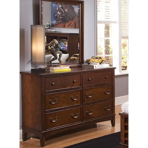 Liberty Furniture Chelsea Square Youth 6 Drawer Double Dresser & Mirror Combination
