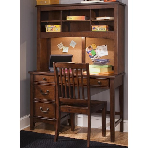 Liberty Furniture Chelsea Square Youth Single Pedestal Student Desk with Hutch