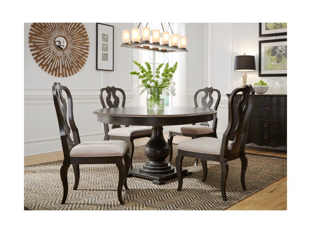 Chesapeake Relaxed Vintage Round Pedestal Table and Chair Set by Liberty  Furniture at Rooms for Less