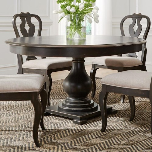 Liberty Furniture Chesapeake Relaxed Vintage Round Pedestal Table with  Table Leaf - Liberty Furniture Chesapeake 493-DR-PDS Round Pedestal Table