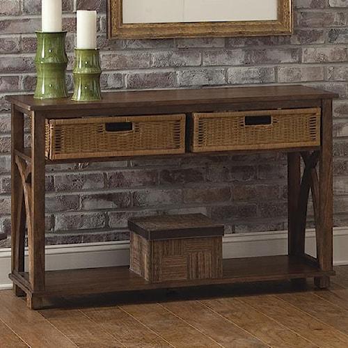 Liberty Furniture Chesapeake Bay Sofa Table with Basket Storage