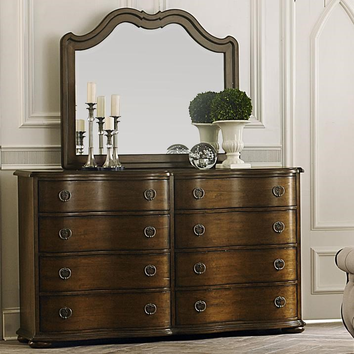 Transitional 8 Drawer Dresser and Landscape Mirror