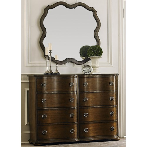 Liberty Furniture Cotswold  Transitional 8 Drawer Bureau and Wall Mirror