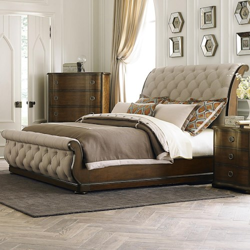Liberty Furniture Carrington Transitional Upholstered Queen Sleigh Bed