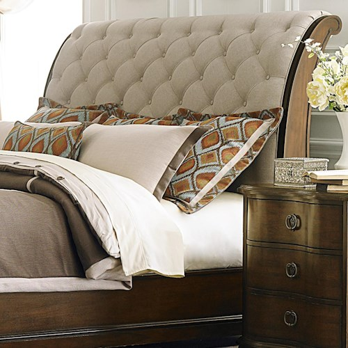headboard sets br wood with cherry queen rm belcourt sleigh dark product pc platform bedroom
