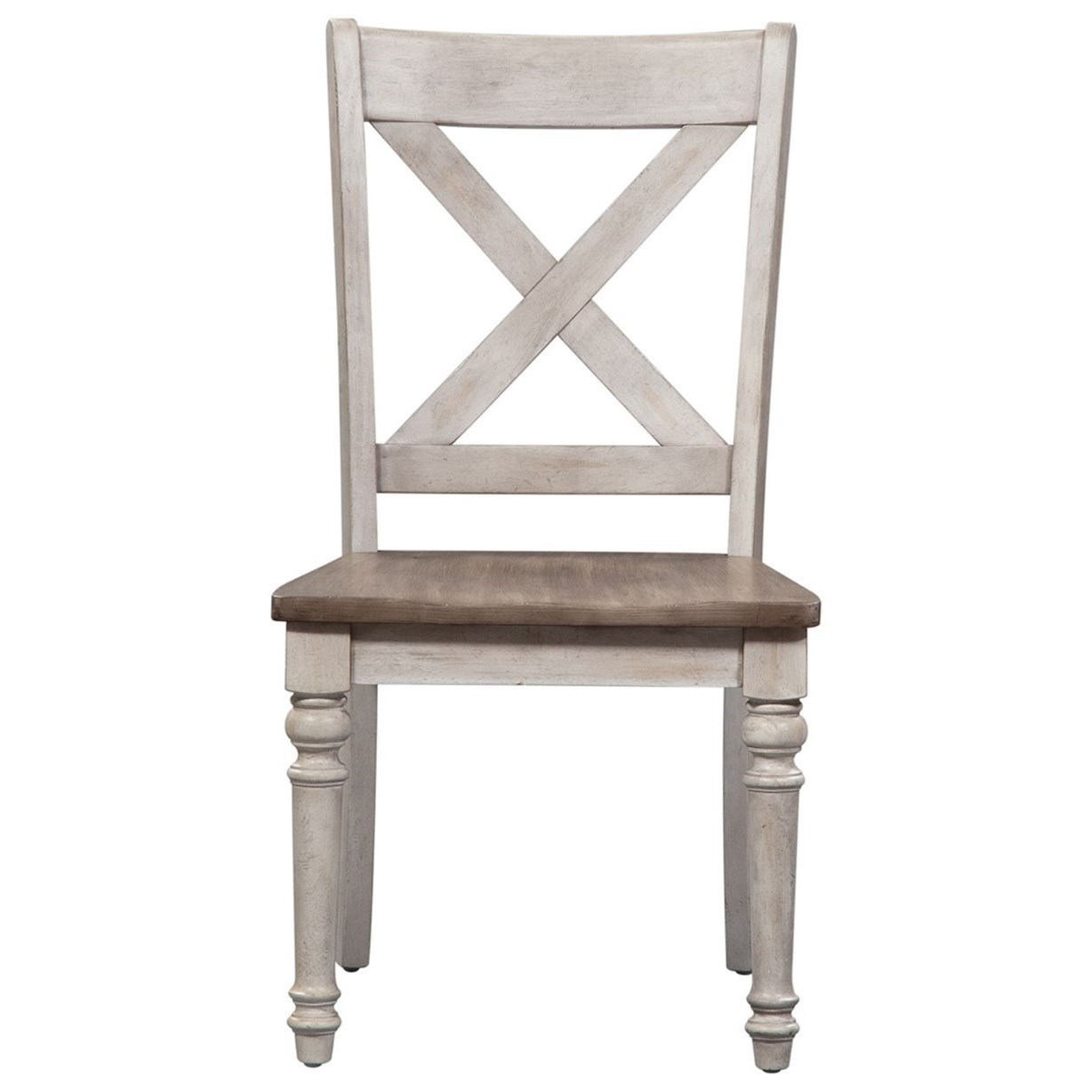 Two-Tone X Back Wood Seat Side Chair (RTA) with Turned Legs