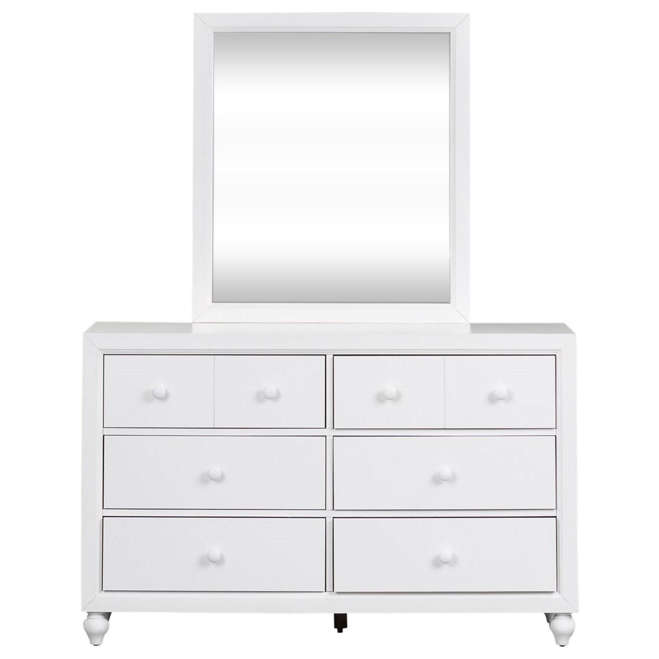 Cottage Style Dresser and Mirror Set with Bun Feet