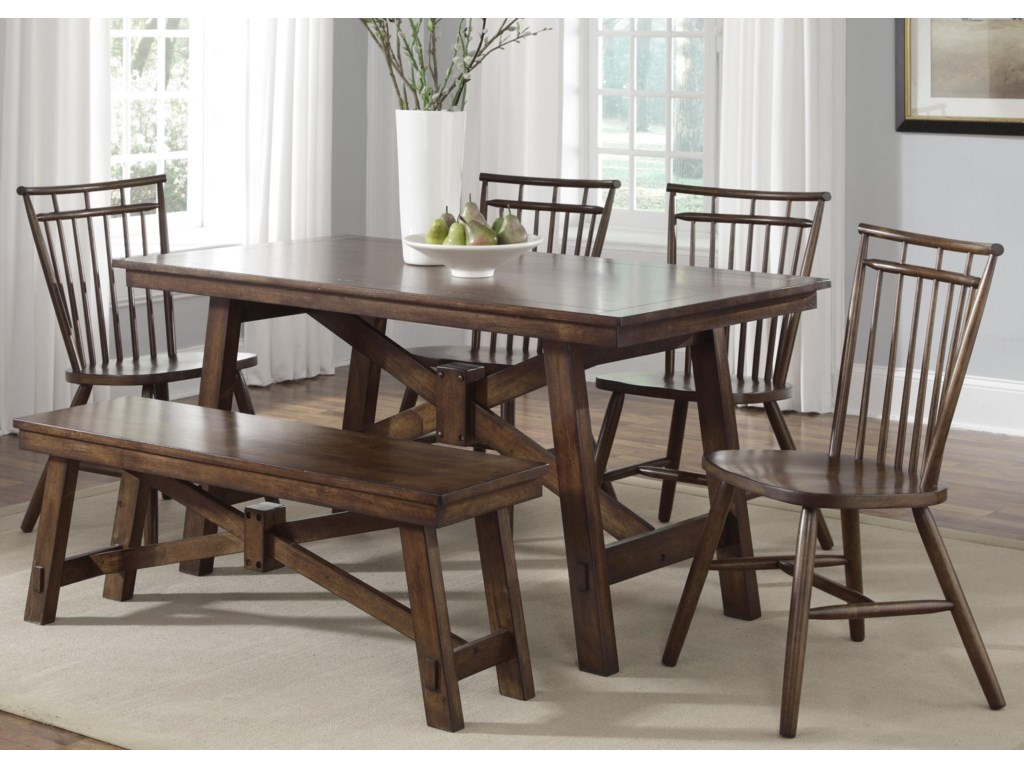 Shown with Coordinating Spindle Chairs and Trestle Wood Table