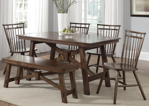 Liberty Furniture Creations II 6 Piece Table Set with Spindle Chairs and Bench