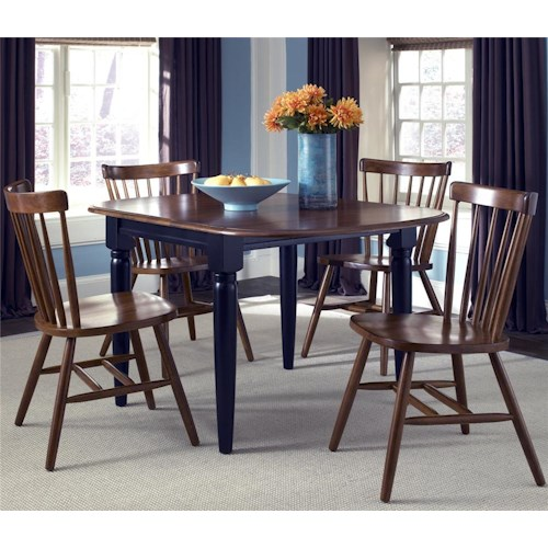 Liberty Furniture Creations II 5 Piece Dinette Table with Drop Down Leaves and Spindle Back Chairs