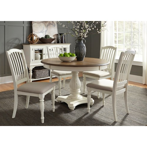 Liberty Furniture Cumberland Creek Dining 5 Piece Pedestal Table Set