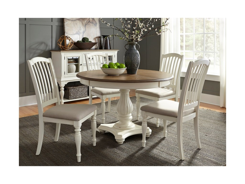 Liberty Furniture Cumberland Creek Dining5 Piece Pedestal Table Set