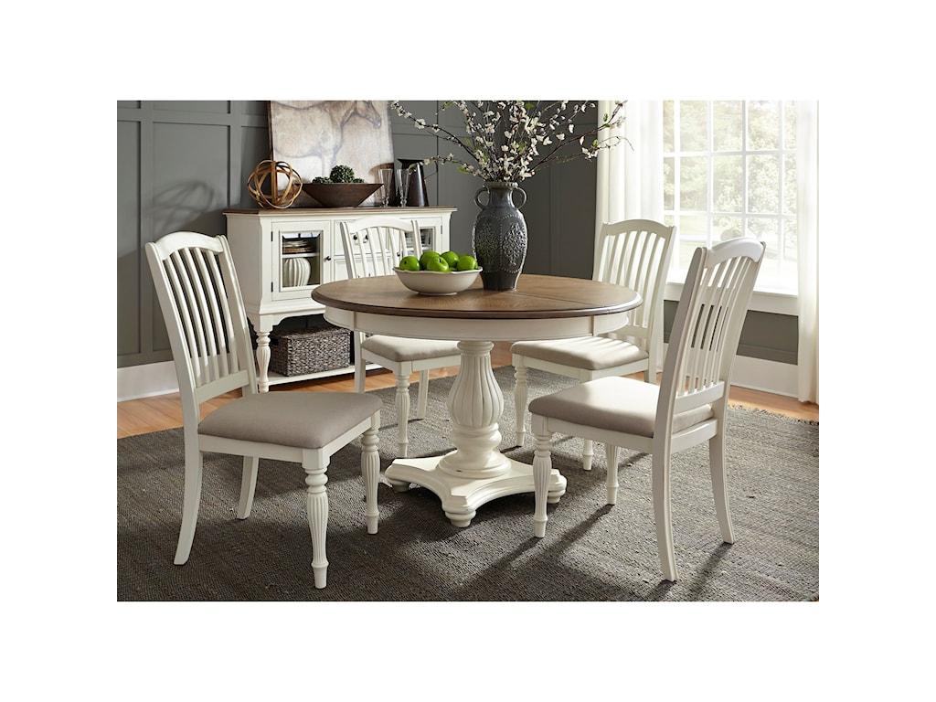 Liberty Furniture Cumberland Creek Dining5 Piece Pedestal Table Set
